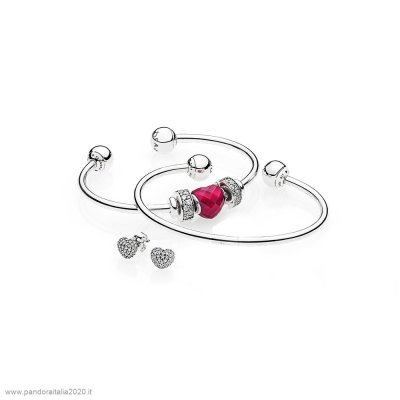 Offerte Pandora Online Be Mine Stacked Open Bangle Regalo