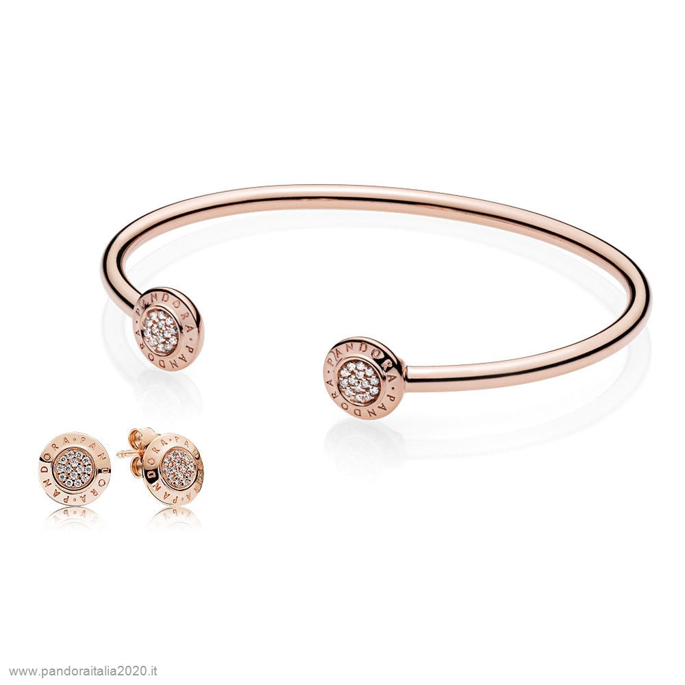 Offerte Pandora Online Pandora Rose Signatura Bangle And Earsquillare Regalo Impostato